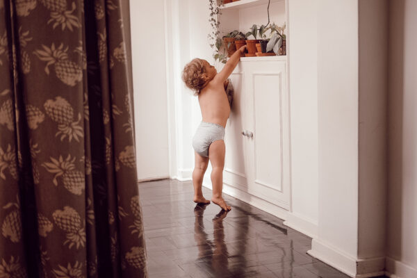 Toddler wearing cloth nappy